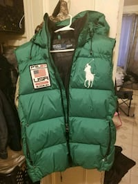 green and white zip-up bubble vest The Bronx, 10457