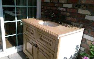 Vintage cabinet with faucet