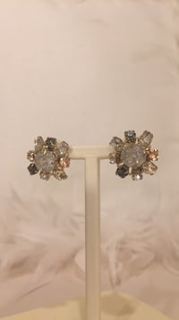 Anthropologie earrings light grey, light pink, white crystals  North Vancouver, V7R 3W8