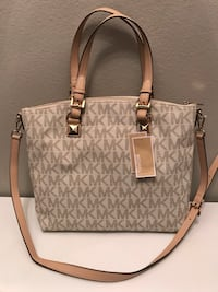 gray and white Michael Kors leather tote bag Baton Rouge, 70817