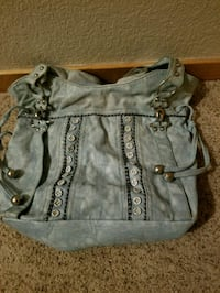 Light blue and black leather shoulder bag Loveland, 80538