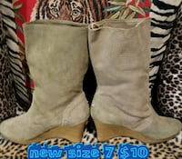 size 7 gray suede knee-high stacked heel boots Las Vegas, 89169