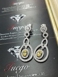 New Sterling Silver Canary Drop Earrings Burnaby