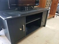 black tv, entertainment stand