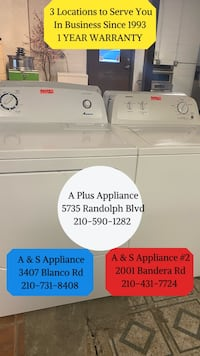 ADMIRAL WASHER AND DRYER SET 1 YEAR WARRANTY
