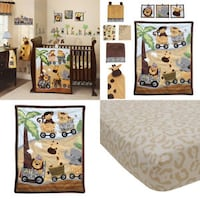 Lambs & Ivy Safari Express Bedding Collection (10 Piece Bedding Set)-Includes a lamp base- $50(OBO) HERNDON