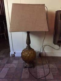 brown ceramic base , table lamp with square lamp shade