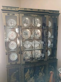 brown wooden framed glass display cabinet Fort Lauderdale, 33308