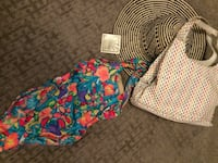 Nine West leather summer purse, phone case, bathing suit and Sunguard summer straw hat. All New