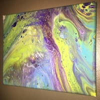 pink, yellow, and green abstract painting 8x10 Granite City, 62040