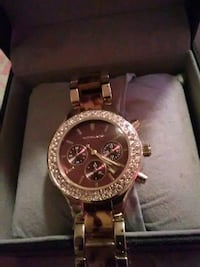 round gold Michael Kors chronograph watch with link bracelet Abilene, 79603