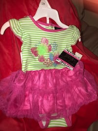 New 3-6 months pink and white stripe dress with romper underneath. Oklahoma City, 73170
