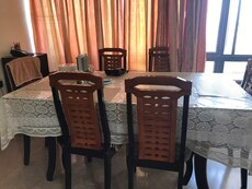 rectangular dining table with wooden chairs set