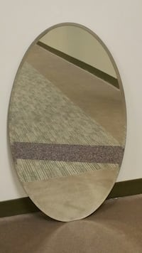 LARGE, FRAMELESS, OVAL BEVELED-GLASS WALL MIRROR (firm price). Arlington, 22204