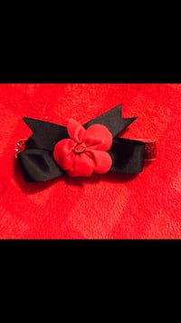black and red ribbon with flower Christmas
