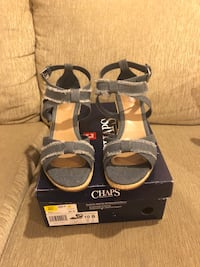 Size 10 low heel wedge sandals .new in box originally $65 asking36orbo