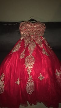 Red and gold floral dress null, 11354