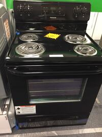 black 4-coil electric range oven