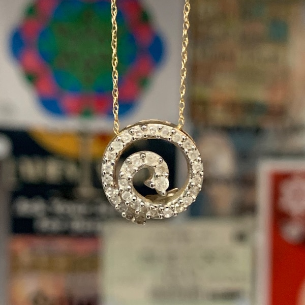 Genuine 10k Yellow Gold Diamond Spiral Pendant with 10k Chain 3