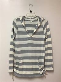 Women's/juniors Roxy gray and white striped hooded shirt… Size large Manasquan, 08736