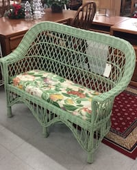 Green Wicker Love Seat