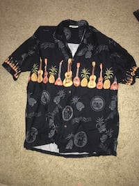 Hawaiian Guitars Black Cotton Men's Border Hawaiian Shirt XL College Park