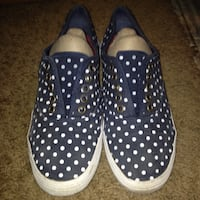 blue-and-white polka-dot low-top sneakers