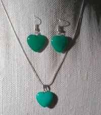 Jade Heart  Shape Necklace and Earring Set
