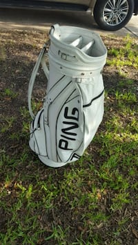 White leather Ping golf bag. Used Richmond, 77407