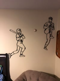Nice heavy duty metal two men playing baseball wall art   McDonough, 30253