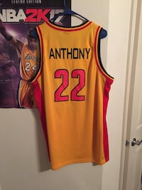 Orange and red  carmelo anthony 22 basketball jersey shirt