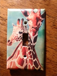 Colorful giraffe painted light switch plate Evansville, 47714