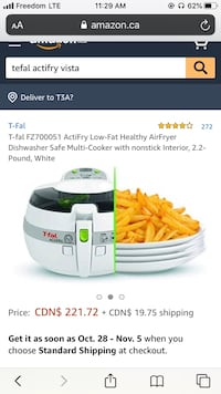 T-fal FZ700051 ActiFry Low-Fat Healthy AirFryer Mississauga, L4T 3M9