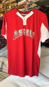 red and white Anaheim Angels jersey shirt