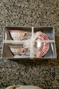Two Red and white tea cup set  Toronto, M3H 0C6