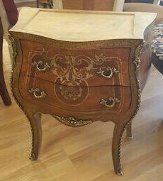 brown wooden side table with bottom drawer