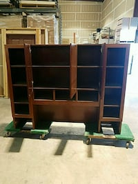 brown wooden TV hutch with flat screen television Fresno, 93722