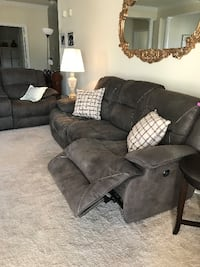 gray suede 3-seat recliner sofa and loveseat BRISTOW