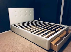 Brand New Full Size Leather Platform Bed w/Storage Drawer