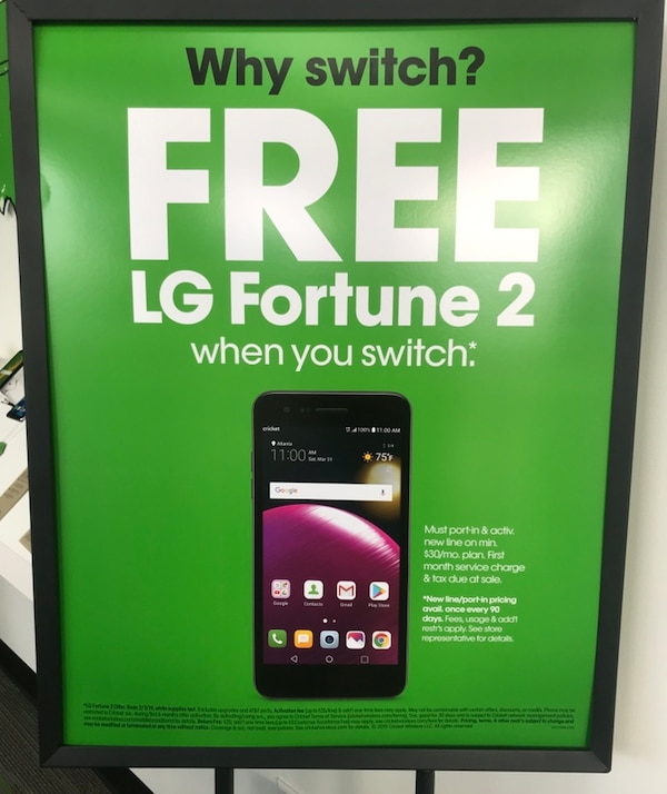 Used Get a free LG Fortune 2 when you switch to Cricket