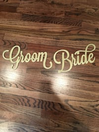 Wedding decor. The groom and bride signs are actual wood.  Houston, 77007