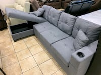 Sectional with storage chaise and cupholders  Brampton, L6R 3L1