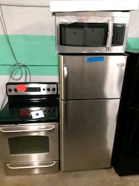3PC. STAINLESS STEEL FRIDGE, STOVE AND NEW OVER THE RANGE MICROWAVE WO