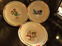 VINTAGE KELLOGG'S SET LOT OF 3 PROMOTIONAL CEREAL BOWLS 1995 Used. Orchard Hills