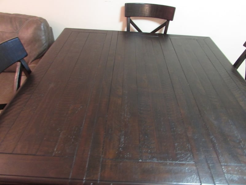Ashley solid wood dining table with 4 chairs and a bench 4f5b0188-96f4-4b9c-8d63-409800303801