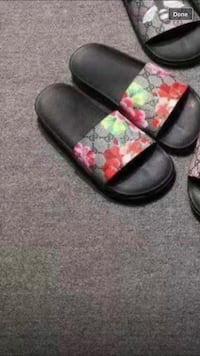 pair of black leather slide sandals Hartford, 06112