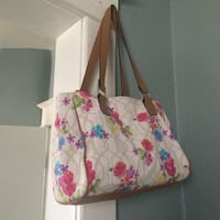 women's white, pink, green, and blue floral leather tote bag Winnipeg, R2W 1K9