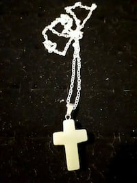 925 sterling silver chain with jade cross