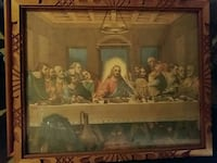 Last Supper painting with brown frame Town Creek, 35672