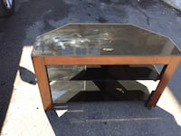 rectangular brown wooden framed glass top coffee table Brampton, L6R 3M6